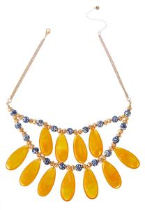 Golden Glass Bead Layered Necklace
