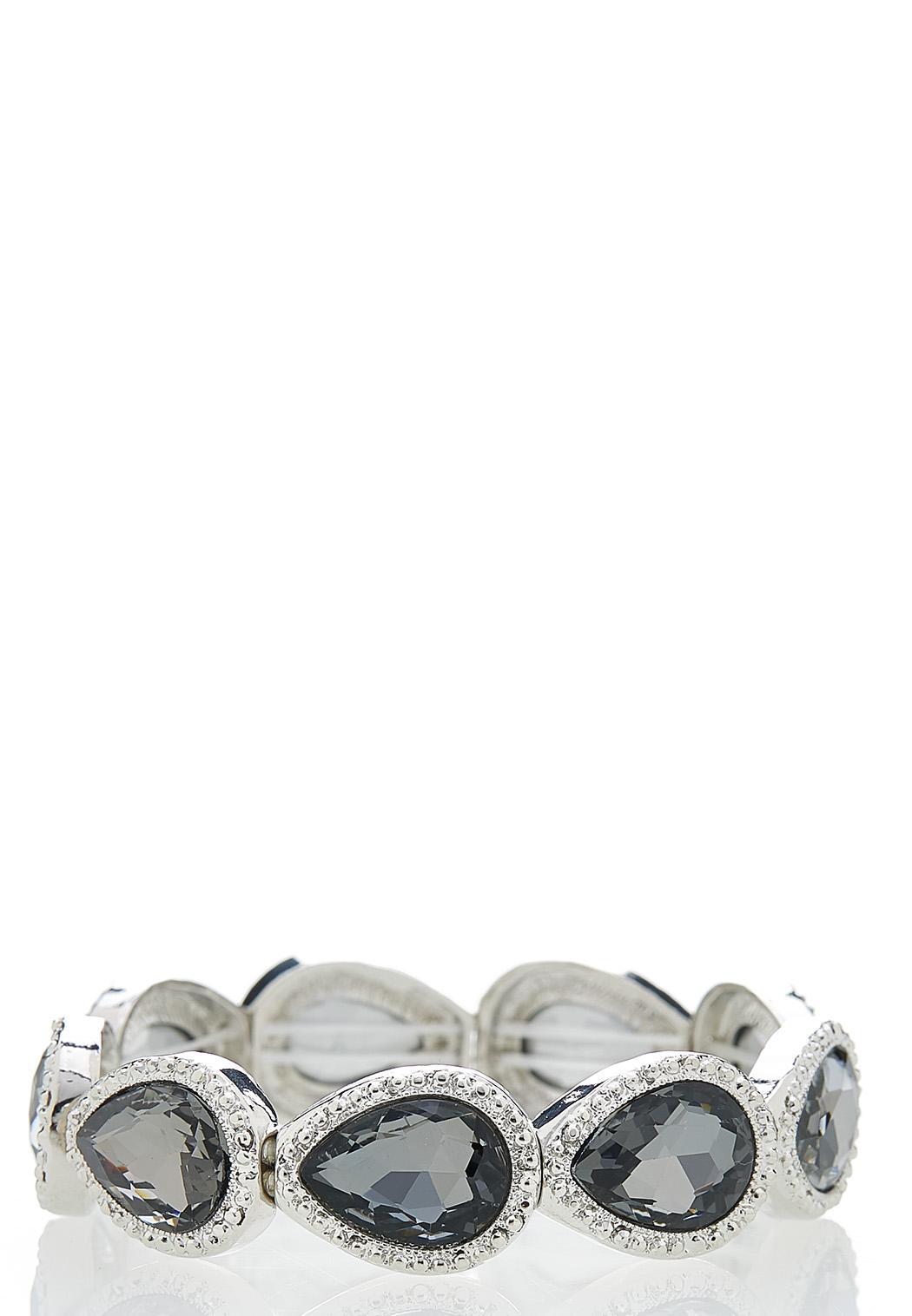 Faceted Glass Stretch Bracelet