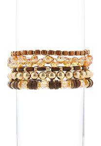 Brown And Gold Beaded Bracelet Set