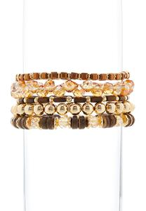 Wood Glass Bead Bracelet Set