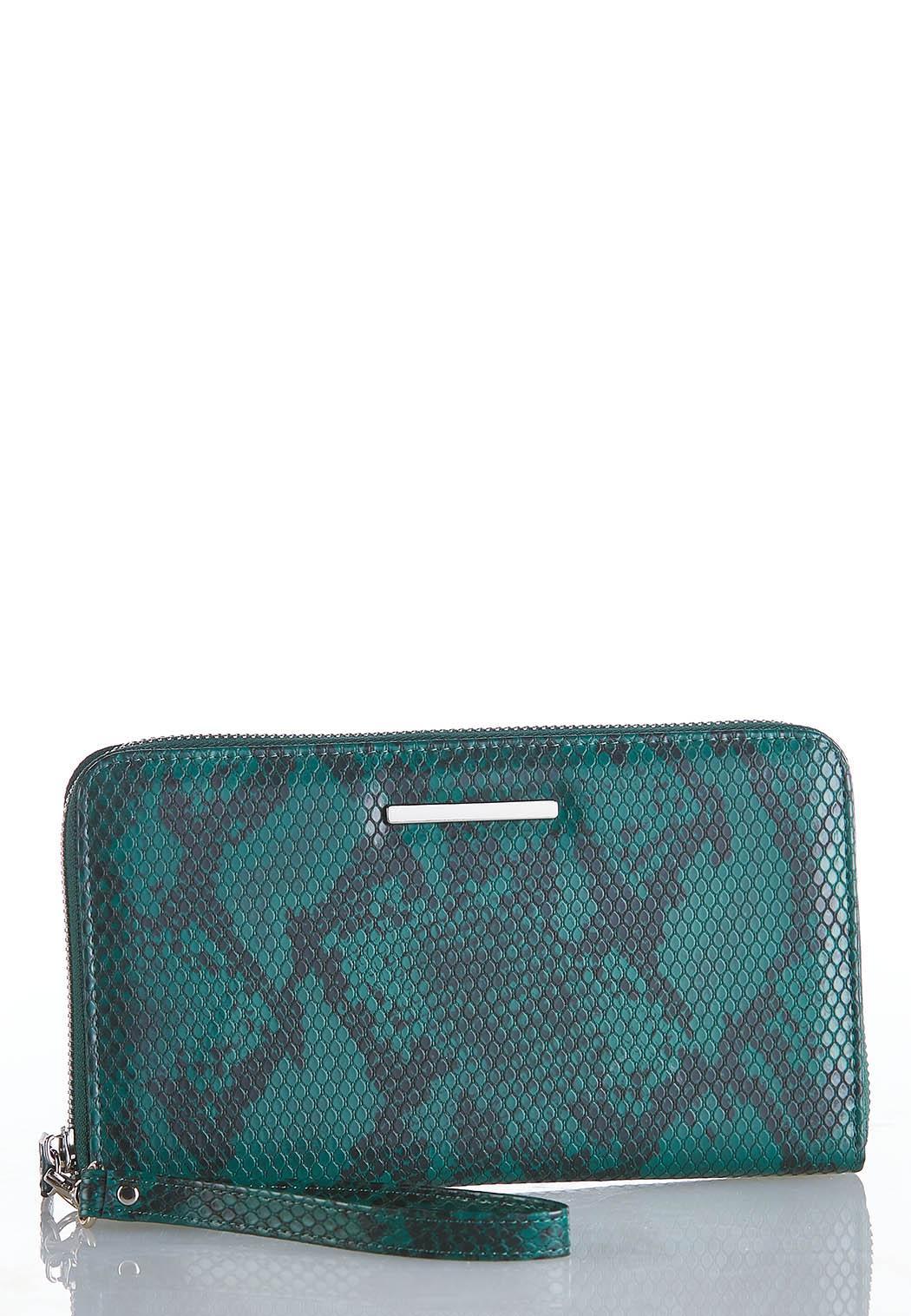 Snakeskin Zippered Wristlet Wallet