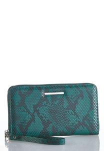 Snakeskin Zippered Wristlet Wallet