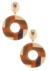 Textured Stripe Circle Earrings