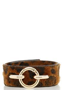 Faux Fur Leopard Snap Bracelet