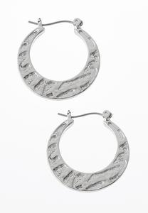 Etched Zebra Metal Hoop Earrings