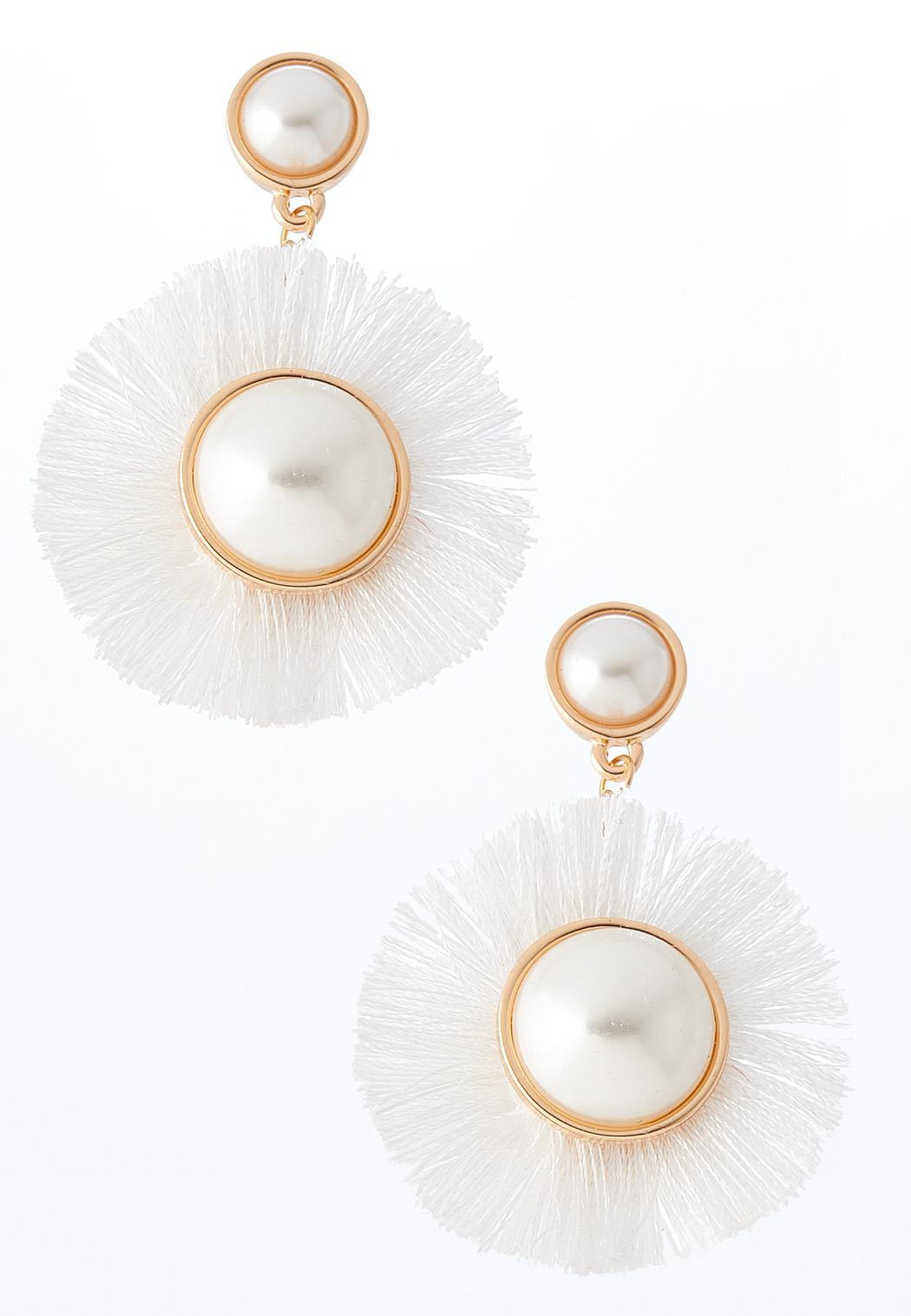 Bright White Frayed Earrings