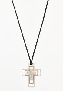 Two-Tone Cross Pendant Cord Necklace