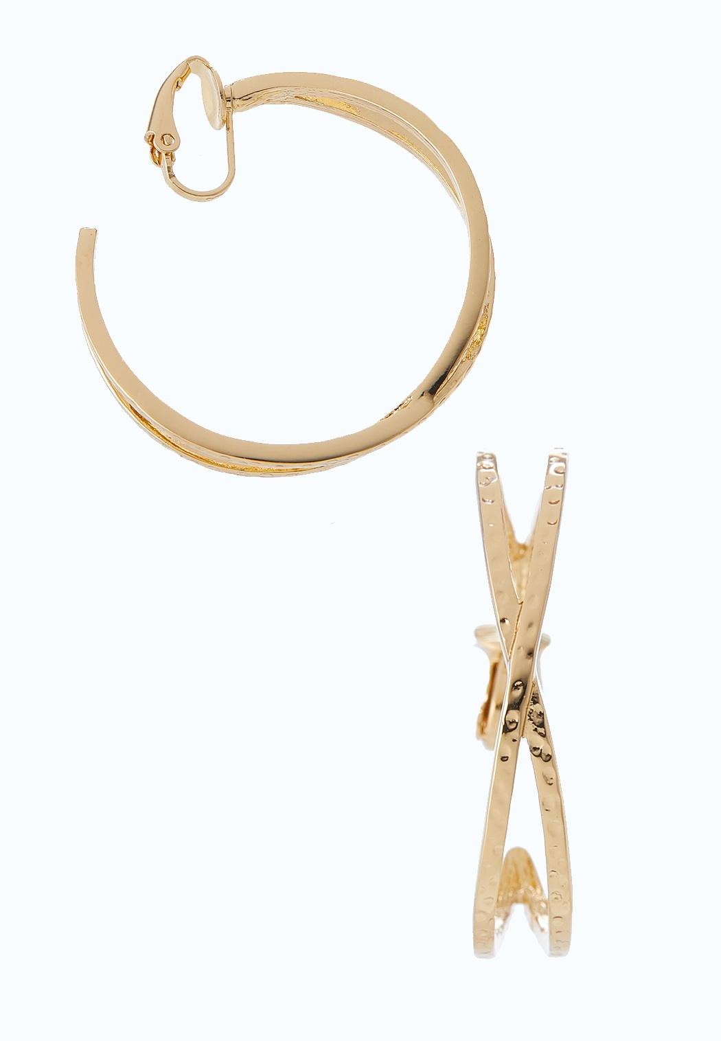 Crossed Gold Hoop Clip-On Earrings