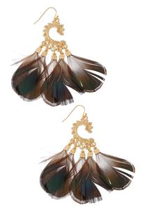 Curved Metal Leaf Feather Earrings