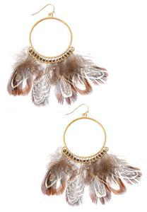 Feather Hoop Dangle Earrings