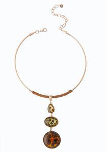 Leopard Stone Wire Pendant Necklace