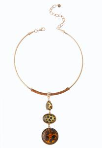 Leopard Stone Wire Pendant Necklace