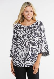 Plus Size Zebra Off The Shoulder Top