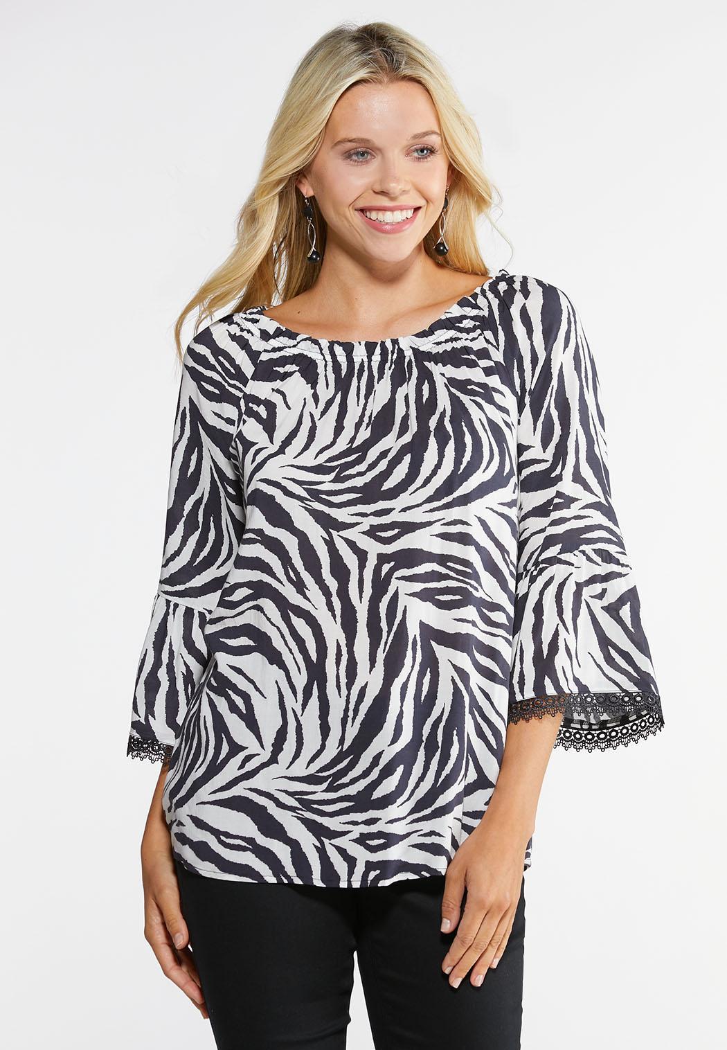 46b9532d26de97 Plus Size Zebra Off The Shoulder Top Tops Cato Fashions