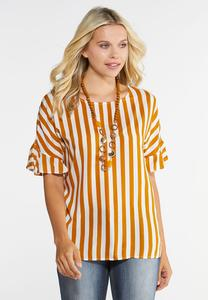 a5967d01fa1343 Golden Ruffled Sleeve Top