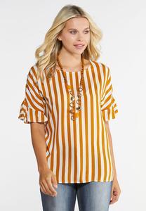 Plus Size Golden Ruffled Sleeve Top