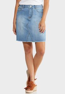 Zig Zag Stitch Denim Skirt