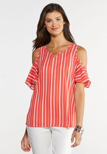 Plus Size Stripe Cold Shoulder Top