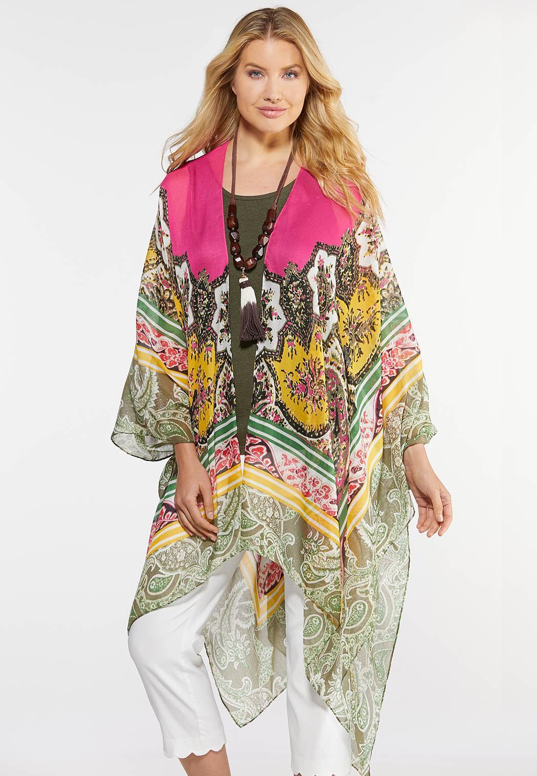 Pink Border Print Kimono