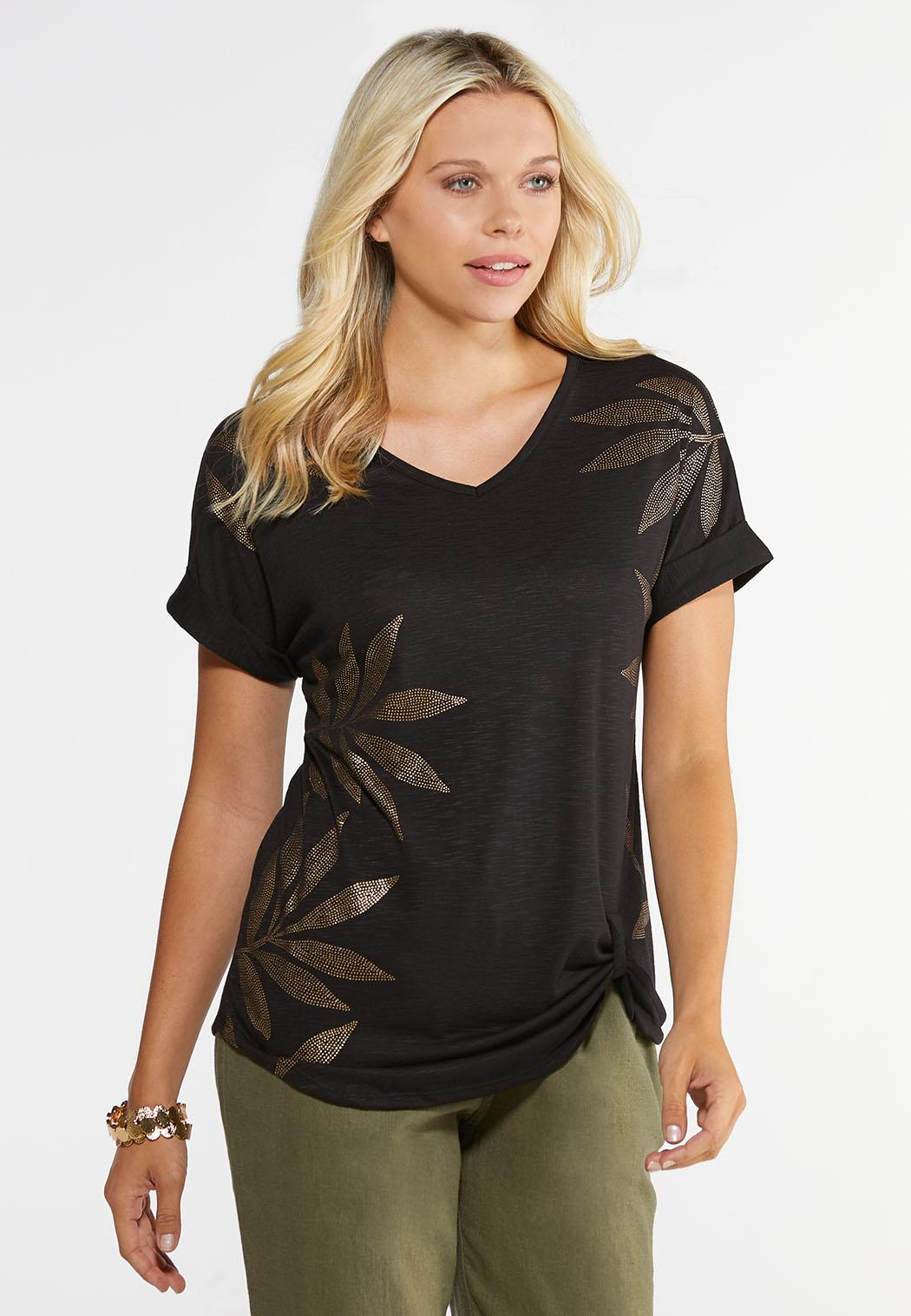 Plus Size Knotted Gold Leaf Tee