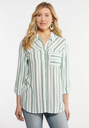 Mixed Stripe Button Up Blouse
