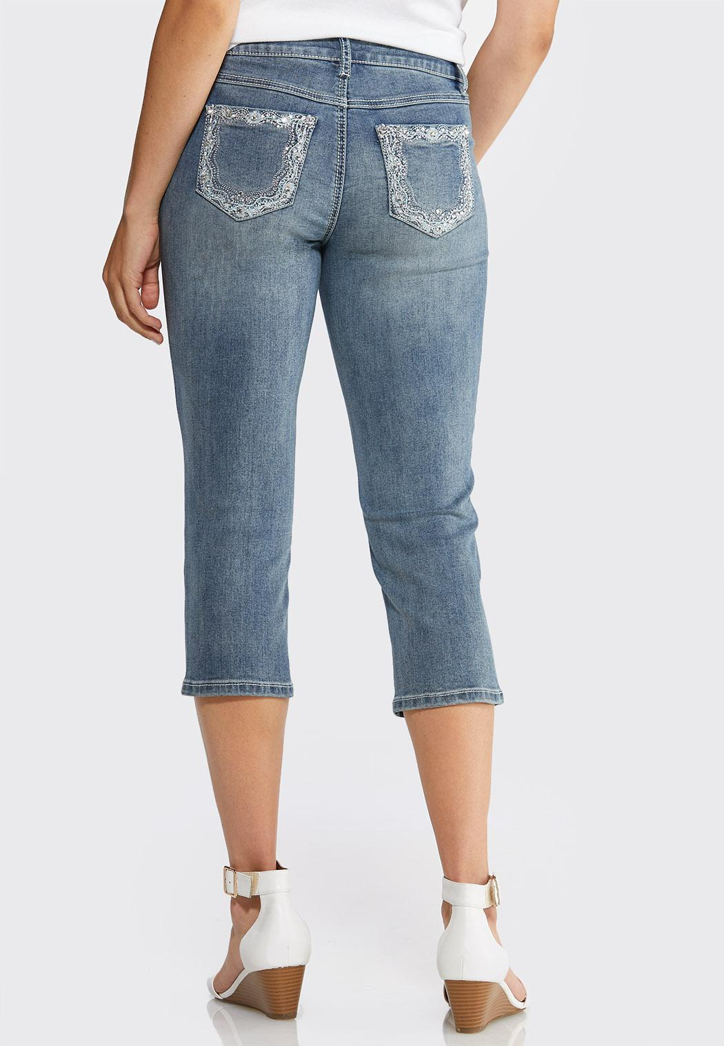 Petite Cropped Floral Rhinestone Jeans