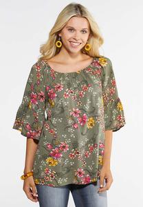Plus Size Convertible Floral Poet Top