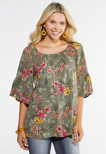 Plus Size Convertible Floral Poet Top
