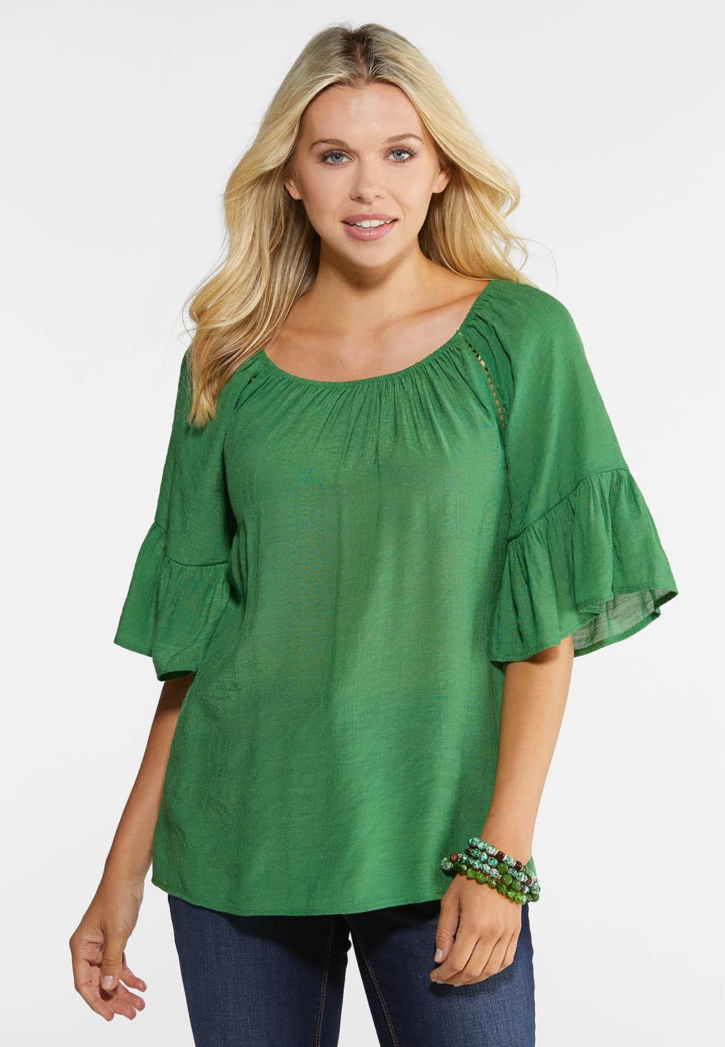Plus Size Convertible Bell Sleeve Top