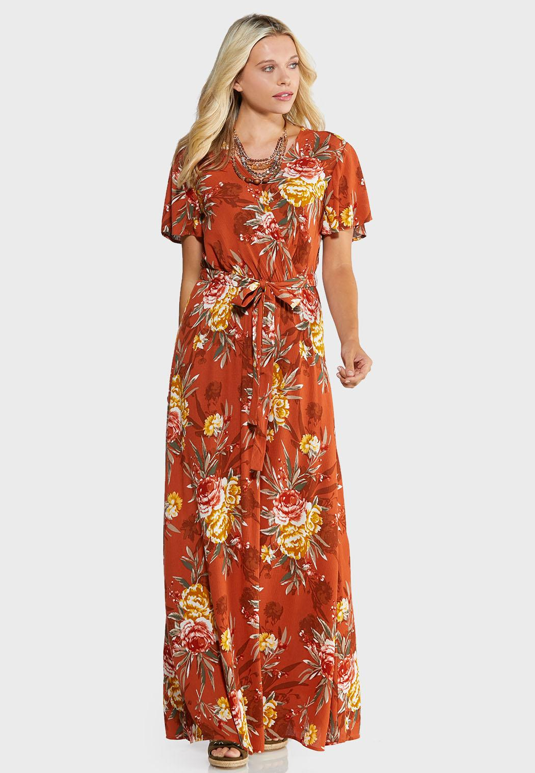 Plus Size Floral Flutter Maxi Dress Maxi Cato Fashions