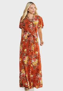Plus Size Floral Flutter Maxi Dress
