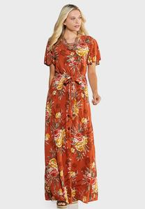 Plus Size Floral Flutter Maxi Dress