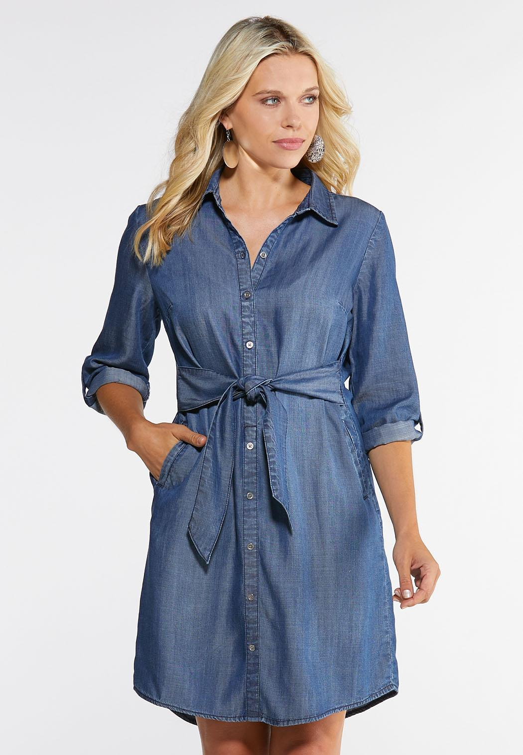 Plus Size Chambray Shirt Dress Plus Sizes Cato Fashions