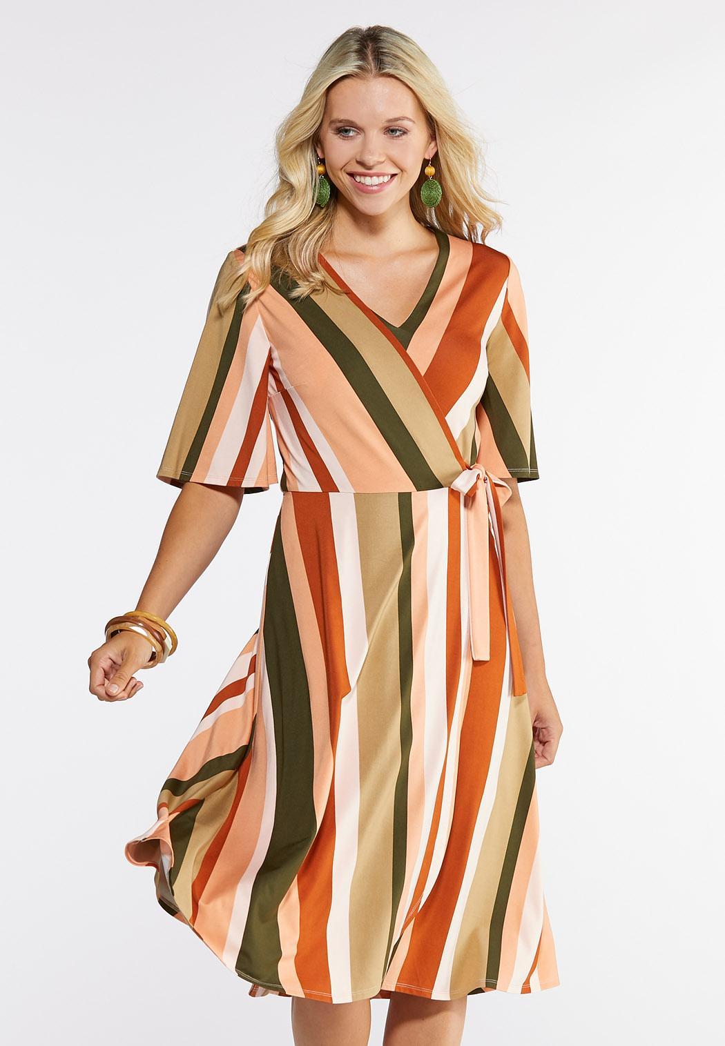 Plus Size Striped Wrap Dress Plus Sizes Cato Fashions