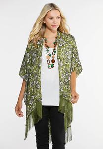 Green Medallion Fringe Kimono