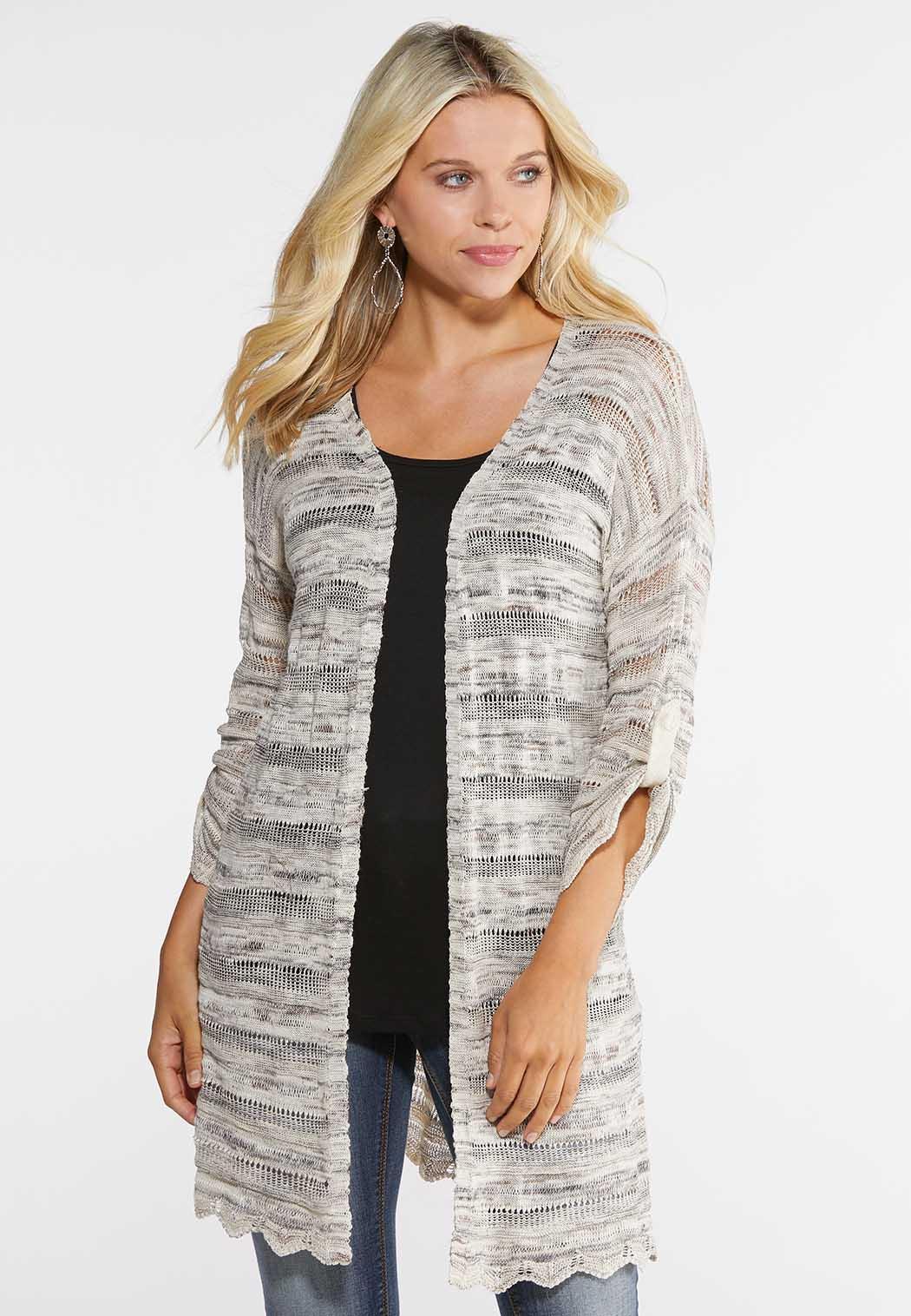 Plus Size Open Stitch Cardigan Sweater