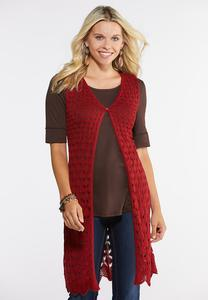 Red Button Front Sweater Vest