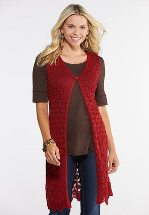 Plus Size Red Button Front Sweater Vest