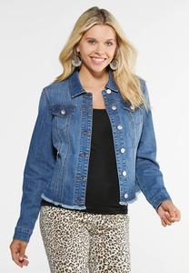 Plus Size Raw Hem Trucker Jacket