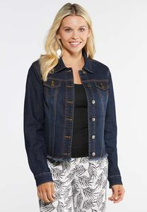 Plus Size Dark Wash Fray Jacket
