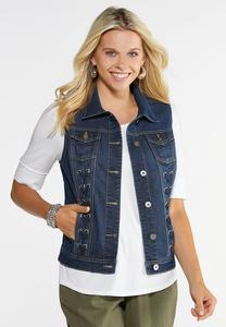 Lace Up Denim Vest