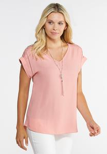 Plus Size Piped Lace Top