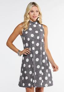Plus Size Puff Dot Swing Dress