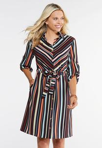 Plus Size Tied Shirt Dress
