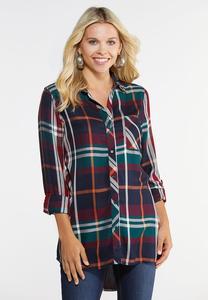 Plus Size Autumnal Plaid Shirt