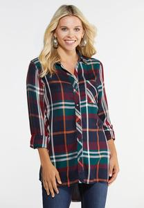 Plus Size Autumnal Plaid Shirt