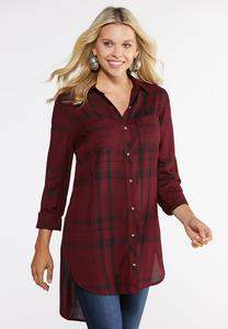 Plaid High-Low Tunic Top