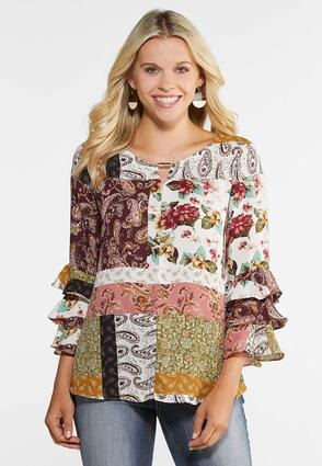 Plus Size Patchwork Tier Sleeve Top