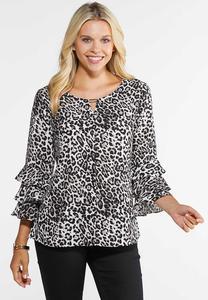 Plus Size Leopard Tier Sleeve Top