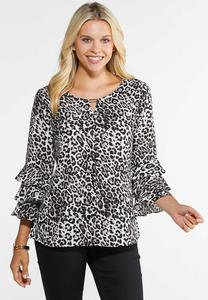 Plus Size Leopard Tier Sleeve Top